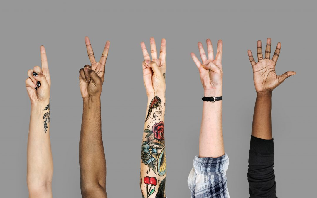 Diversity hands with numeric sign